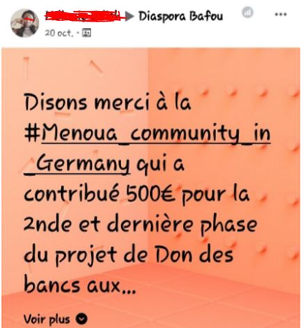 Message facebook de Diaspora Bafou